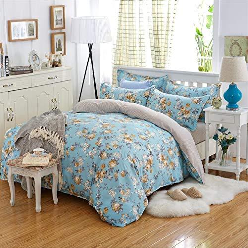 Mandarin Duck Cotton Pastoral Flower Bedding Linen Sheet Duvet Cover Pillowcase 4Pcs Bedding Sets/Queen 13 King ()