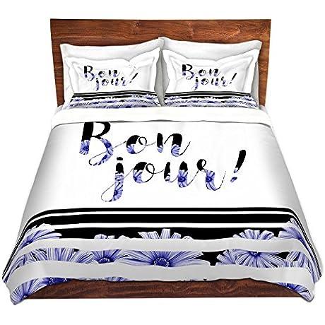 DiaNoche Designs Bonjour Typography Blue Floral Home Decor Cover 7 Queen Duvet Sham Set