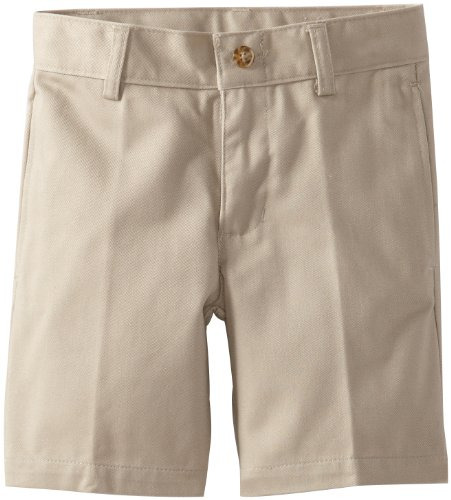 Nautica Little Boys' Uniform Flat Front Twill Short, Khaki,6