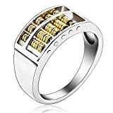 Mens Ring Bands Silver Plated Hollow Abacus 9MM Width Gold Size 11 Wedding Bands