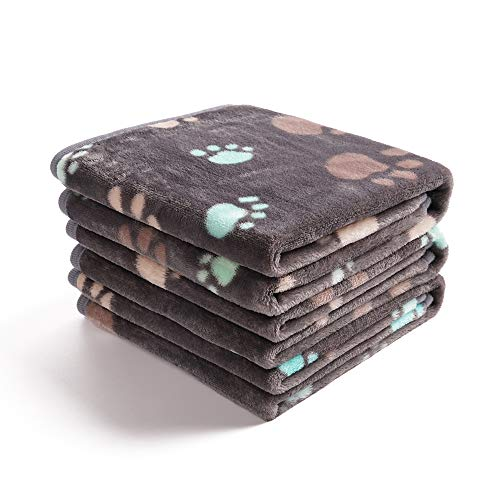 luciphia 1 Pack 3 Blankets Super Soft Fluffy Premium Fleece Pet Blanket Flannel Throw for Dog Puppy Cat Paw Grey Large
