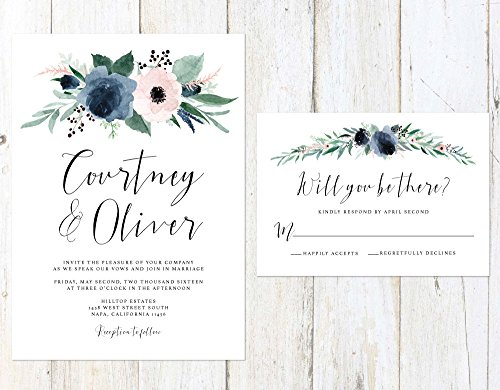 Dusty Blue and Blush Wedding Invitation, Blush and Blue Floral Wedding Invitation, Floral Watercolor Wedding Invitation by Alexa Nelson Prints