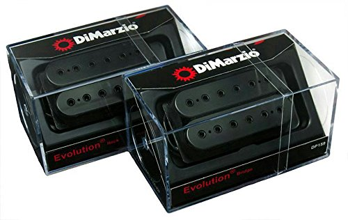 Cover Humbucker Set - DiMarzio Evolution Neck & Bridge Humbucker Pickup Set, Black, Regular Spacing