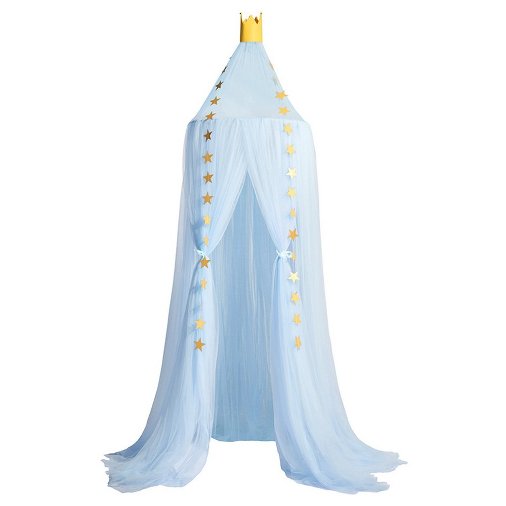 Didihou Mosquito Net Bed Canopy Yarn Play Tent Bedding for Kids Playing Reading Dome Netting Curtains Baby Boys and Girls Games House (Light Blue)