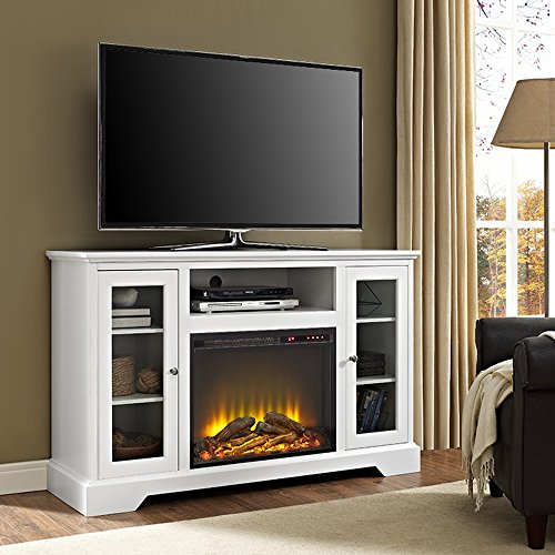 white tv stand with fireplace - 6