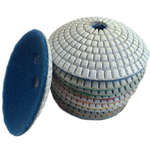 """Easy Light 7 Pcs 4"""" Diamond Wet Convex Concave Polishing Grinding Pads for Granite Marble Stone Grit 30-3000"""