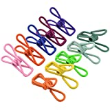 Lystaii 100pcs Utility Clips, Multipurpose Clothesline Clips Bag Clips Steel Wire Clips Clothes Pegs Pins for Drying Home Laundry Office Cord Clothespins Fastener Socks Scarfs Assorted Colors