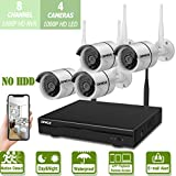 Wireless 8-Channel 1080P Security Camera System with 4pcs 1080P Full HD Cameras,Home CCTV Surveillance System,Indoors&Outdoors IP Cameras+8CH House WiFi NVR Recorder,No Hard Disk Drive.