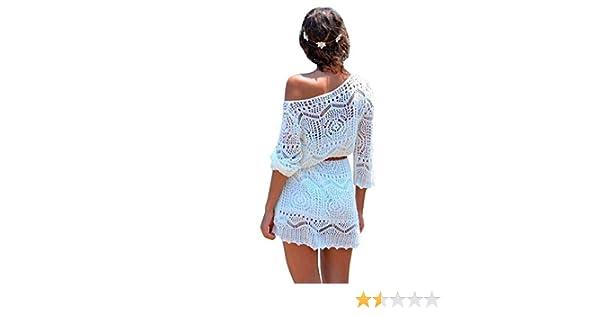 LHWY Las Mujeres Hueco Fuera Blanco Encaje Vestido Playa Fiesta Vestidos  con Cinturón  Amazon.es  Ropa y accesorios 9e378b50fd96