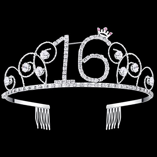 BABEYOND Crystal Birthday Tiara Crown Princess Birthday Crown Hair Accessories Happy 16th Birthday Crown Tiara for Women (16 -