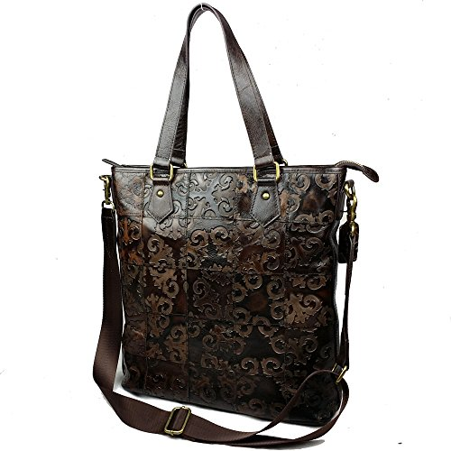 Pure Stitching Handbag Messenger Otomoll Portable Embossed Leather Bag Tote Shoulder 04qETpw