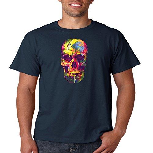 Juiceclouds   Neon T Shirt Painted Skull Mens Tee (Navy Blue, 2XL)