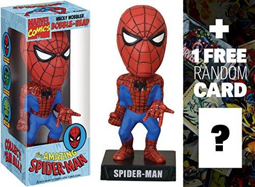 Spider-Man: Funko Wacky Wobblers x Marvel Universe Bobble Head Figure + 1 FREE Official Marvel Trading Card Bundle (Spider Man Wacky Wobbler)