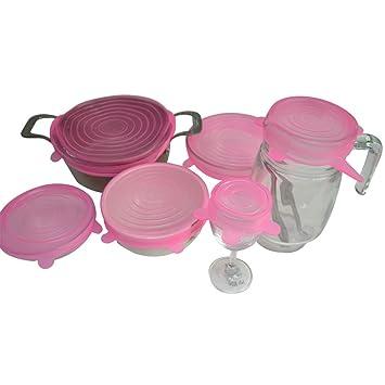 JMC Tapas Elásticas de Silicona Cubiertas Frescas de Alimentos sin BPA para Tazones, Latas, Ollas, Sartenes, Tazas y Envases size paquete de 6 (Rosa roja): ...