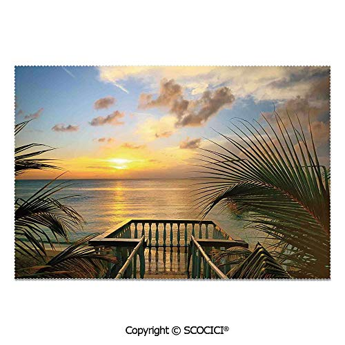 SCOCICI Place Mats Set of 6 Personalized Printed Non-Slip Table Mats Mediterranean Horizon Sea from Wooden Terrace Balcony Fences Holiday Life Photo for Dining Room Kitchen Table Decor ()