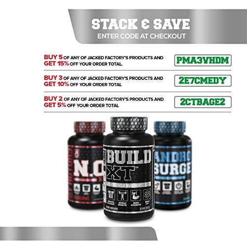 BUILD-XT Muscle Builder - Daily Muscle Building Supplement for Muscle Growth and Strength | Featuring Powerful Ingredients Peak02 & elevATP - 60 Veggie Pills by Jacked Factory (Image #6)