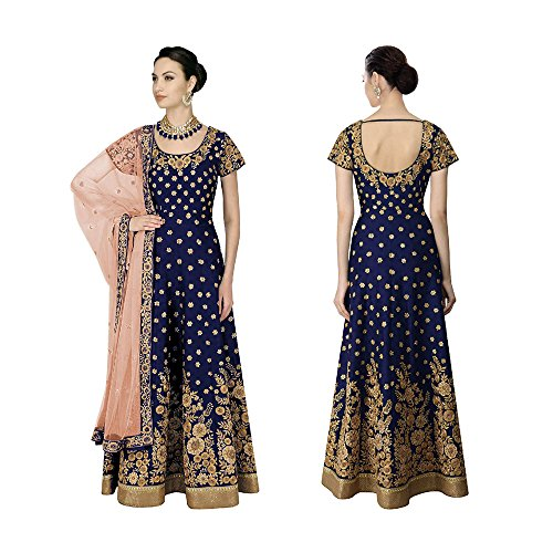 Usura Tradizionale In Donne Blu Kameez Partito Progettista Anarkali Salwar Seta Banglori Indiane qWWxpCwSt