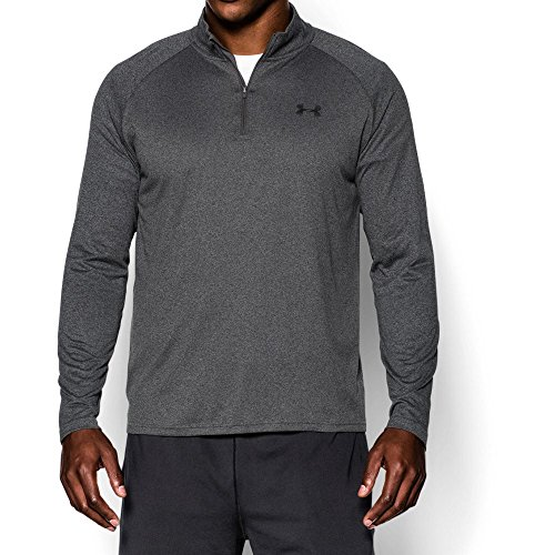 Under Armour Men's Tech 1/4 Zip, Carbon Heather/Black, (0.25% Carbon)