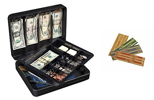 Honeywell 6113T Deluxe Steel Cash Box with Bonus Coin Rolls -