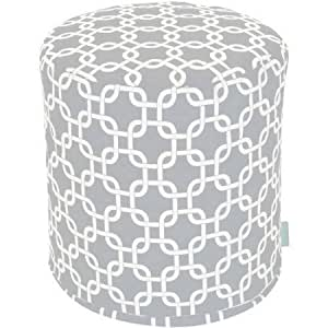 Small Upholstery Pouf, Made from UV Resistant Polyester, Small Garden Ottoman, Home Furniture, Extra Seating Space, Multiple Finishes + Expert Guide (Gray)