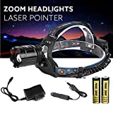 Leewa Zoomable 5000LM XM-L T6 LED Focus Headlight+1XAC Charger (90v-264v)+2X18650 3200mAh Rechargable 3.7v Batteries+1XCar Charge