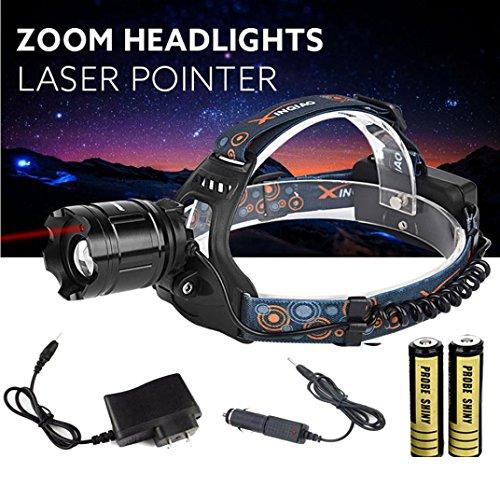 Leewa Zoomable 5000LM XM-L T6 LED Focus Headlight+1XAC Charger (90v-264v)+2X18650 3200mAh Rechargable 3.7v Batteries+1XCar Charge by Leewa