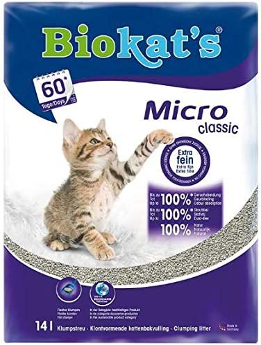 Biokat Micro Gruming Classic - Arena para gatos prácticamente sin polvo (2 x 14 L)