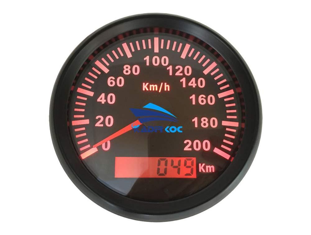 Kadir Koc 1pc GPS Speedometers 0-200km//h Red Backlight Speed Indicators Tuning Gauges Speed Mileometers 9-32vdc with GPS Antenna