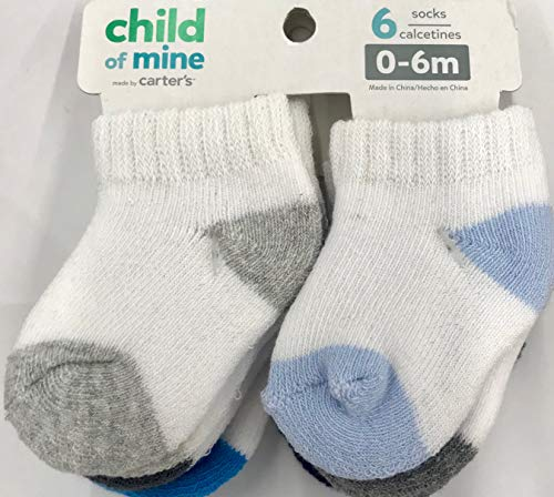 Child of Mine by Carters Baby Boy 6-Pack Terry Cuff Socks, 0-6 Months