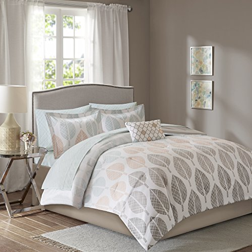 E&E Co Madison Park Essentials Central Park Twin Size Bed Comforter Set Bed In A Bag - Coral, Aqua, Taupe, Leaf – 7 Pieces Bedding Sets – Ultra Soft Microfiber - 7 Leaf Piece