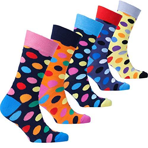 Socks n Socks-Men's 5-pair Luxury Cotton Polka Dotted Dots Dress Socks Gift Box]()