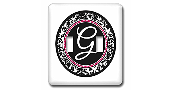 3drose Lsp 154599 2 Letter G Stylish Monogrammed Circle Girly Personal Initial Personalized Black Damask With Hot Pink Double Toggle Switch Switch Plates Amazon Com