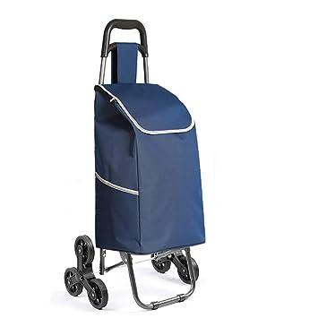 D&F Carrito de la compra, 6 ruedas de escalera plegable de aluminio de aleación Carrito