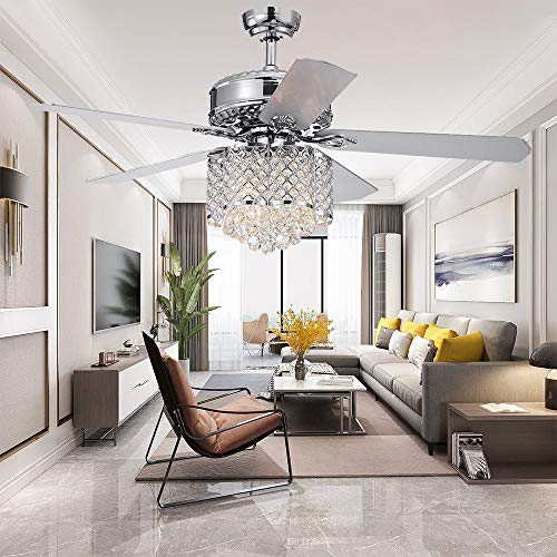 RainierLight 5-blade 52-inch Chrome Ceiling Fan with 3-Light Crystal Chandelier Remote Controlled