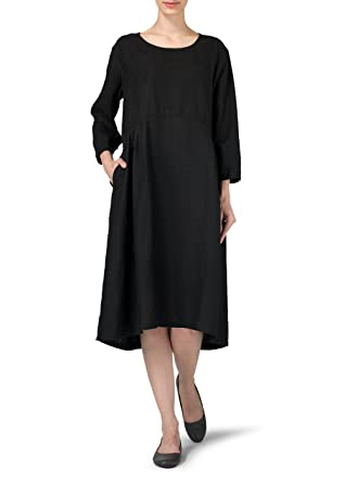 4d2d5a34b8 Vivid Linen Empire Waist Midi Dress at Amazon Women s Clothing store