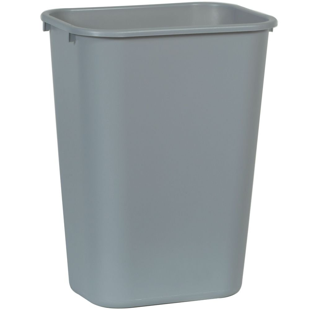 "Rubbermaid Commercial 2957 LLDPE 10-Gallon Deskside Large Trash Can, Rectangular, 11"" Width x 15-1/4"" Depth x 19-7/8"" Height, Gray"