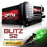 OPT7 Blitz 35w S2 H1 HID Kit - Relay Bundle - All Bulb Sizes and Colors - 2 Yr Warranty [Hot Green Xenon Light]