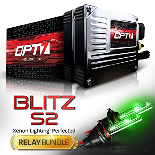 OPT7 Blitz 35w S2 H1 HID Kit - Relay Bundle - All Bulb Sizes and Colors - 2 Yr Warranty [Hot Green Xenon Light] by OPT7