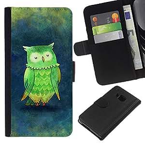 A-type (Green Teal Blue Watercolor Painting) Colorida Impresión Funda Cuero Monedero Caja Bolsa Cubierta Caja Piel Card Slots Para HTC One M9