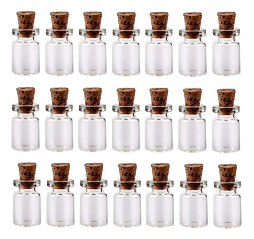 - 50PCS 0.5ml Mini Glass Wish Bottles with Corks Stoppers Small Bottle Decoration Crafts Vials Jars Gift DIY Bottles Decoration Message Weddings Wish Jewelry Party Favors(Clear)