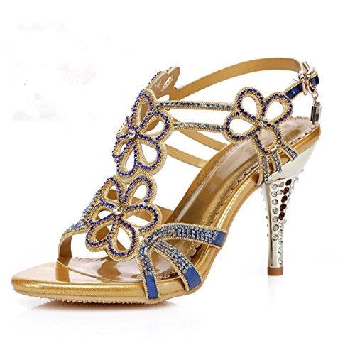 Meijia - Zapatos de tacón  mujer Azul