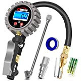 Oasser Digital Tire Inflator with Pressure Gauge Air Compressor Max 255PSI with Digital LCD Pressure Gauge Brass Air Chuck Dual Head Air Chuck 1/4 inches NPT Quick-Connect Male Fitting P5