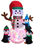 6 Foot Tall Lighted Christmas Inflatable Three Cute Penguins Building Snowman Color LEDs Yard Decoration
