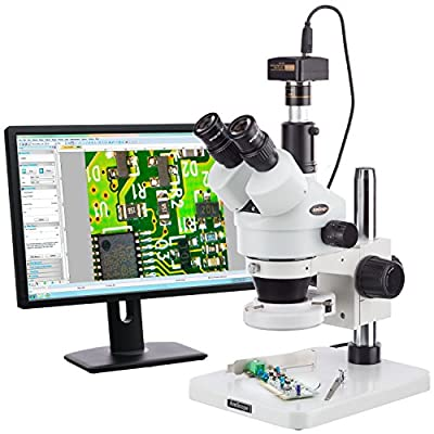 AmScope SM-1TS-144S-5M Digital Professional Trinocular Stereo Zoom Microscope, WH10x Eyepieces, 7X-45X Magnification, 0.7X-4.5X Zoom Objective, 144-Bulb LED Ring Light, Pillar Stand, 110V-240V, Includes 5MP Camera with Reduction Lens and Software