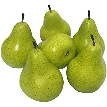 J-Rijzen 6pcs Fake Pear Artificial Fruits Vivid Green Pear for Home Fruit Shop Supermarket Desk Office Restaurant Decorations Or Props (Green)