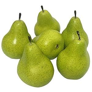J-Rijzen 6pcs Fake Pear Artificial Fruits Vivid Green Pear for Home Fruit Shop Supermarket Desk Office Restaurant Decorations Or Props (Green) 28