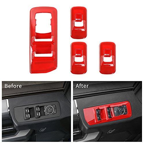 Voodonala Red Window Lift Panel Switch Covers for 2015 2016 2017 2018 Ford F150