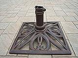 """18"""" Square Antique Bronze Filigree Designed Cast Iron Patio Umbrella Stand"""