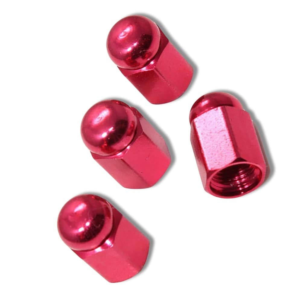 "(4 Count) Cool & Custom ""Hexagon Dome Top"" Tire Wheel Valve Stem Cap Seal Made of Genuine Metal {Red Color - Hard Metal Internal Threads for Easy Application - Rust Proof - Fits For Most Cars} by mySimple Products (Image #1)"