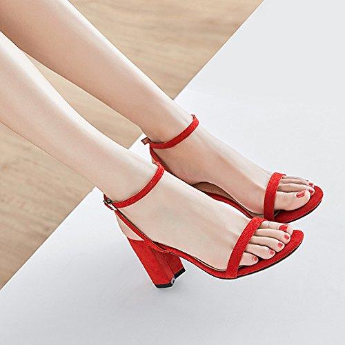 Block Tac Strappy Sandalias Strap Suede Tobillera Heels Mid de Leather Open Toe x81aOxA